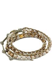 Chan Luu - 13 1/2' Silver Leaf Jasper/Coconut Double Wrap Bracelet