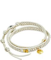 Chan Luu - 12 1/2' Silver/Pearl Double Wrap Skull Charm Bracelet