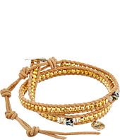 Chan Luu - 12 1/2' Yellow Gold/Beige Double Wrap Skull Charm Bracelet