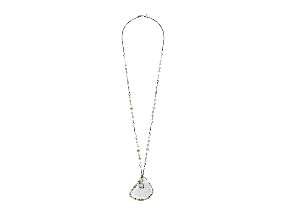 Chan Luu 37 Grey Agate/Fresh Water Pearl Pendant Necklace Grey Mix Necklace