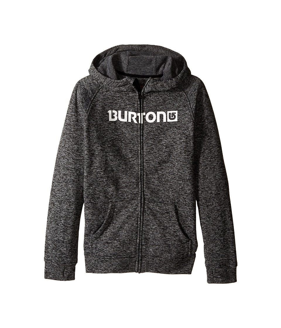 Burton Kids Oak Full Zip Hoodie Little Kids/Big Kids True Black Heather Boys Sweatshirt