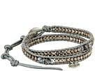 12 1/2' Antique Silver/Grey Double Wrap Skull Charm Bracelet