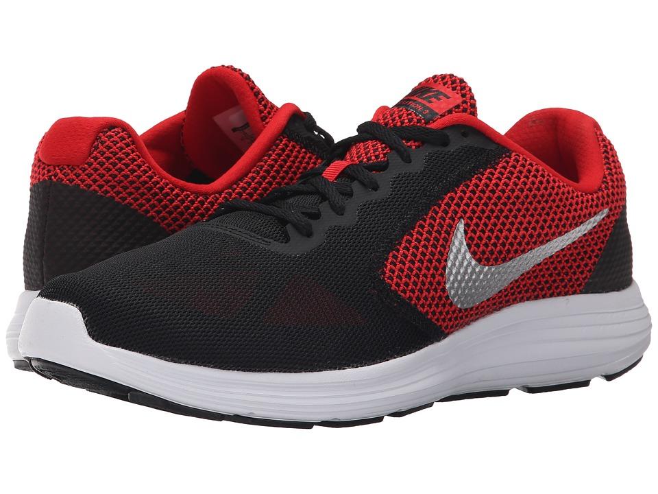 Nike - Revolution 3 (University Red/Black/White/Metallic Silver) Mens Running Shoes