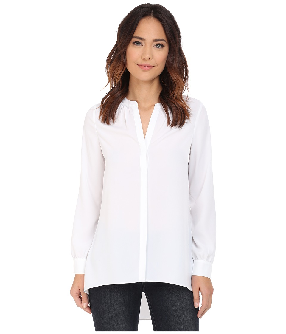 NYDJ Tunic High Low Optic White Womens Blouse