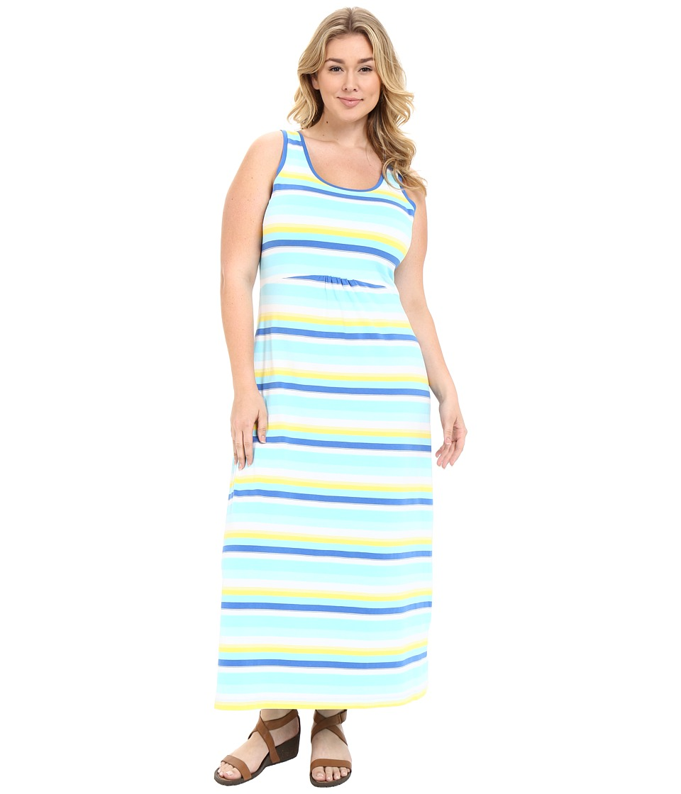 Columbia Plus Size Reel Beauty II Maxi Dress Coastal Blue Multi Stripe Womens Dress