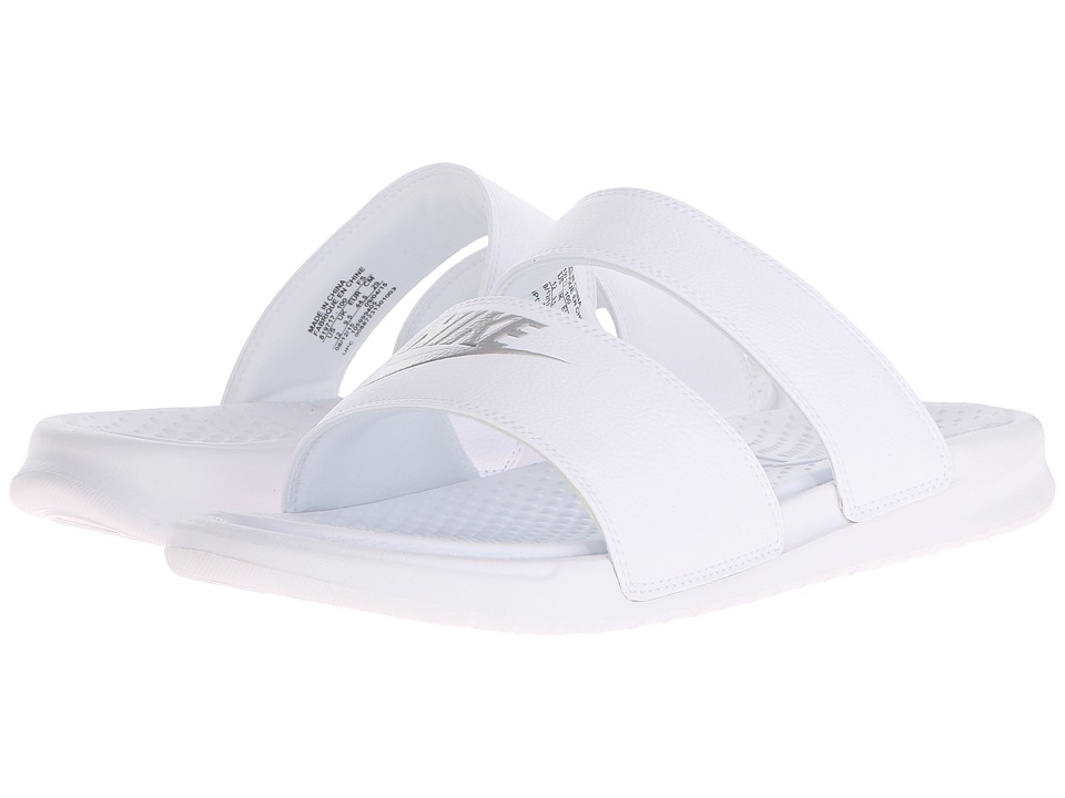 Nike Benassi Duo Ultra Slide (White/Metallic Silver) Slides