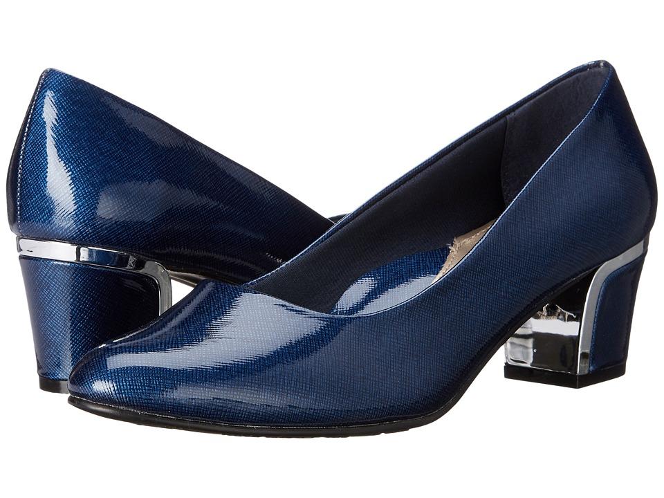 Soft Style Deanna (Navy Cross Hatch Patent/Silver) Women