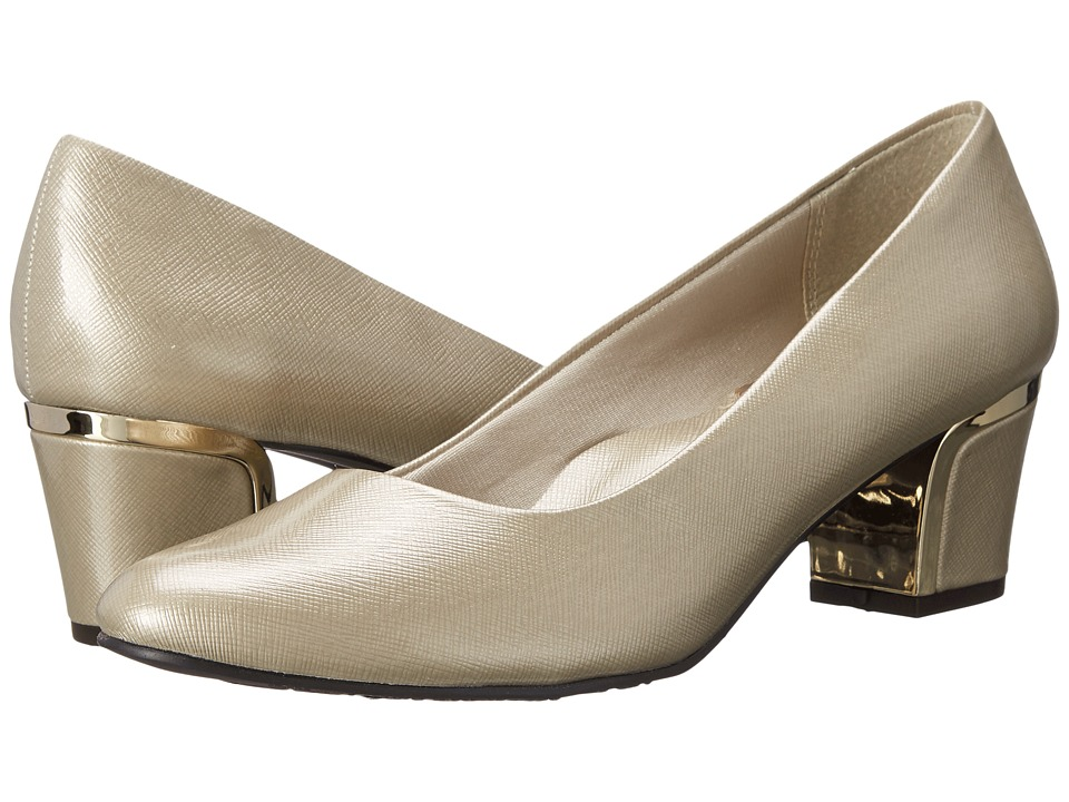 Soft Style Deanna (Bone Cross Hatch Patent/Gold) 1-2 inch heel Shoes