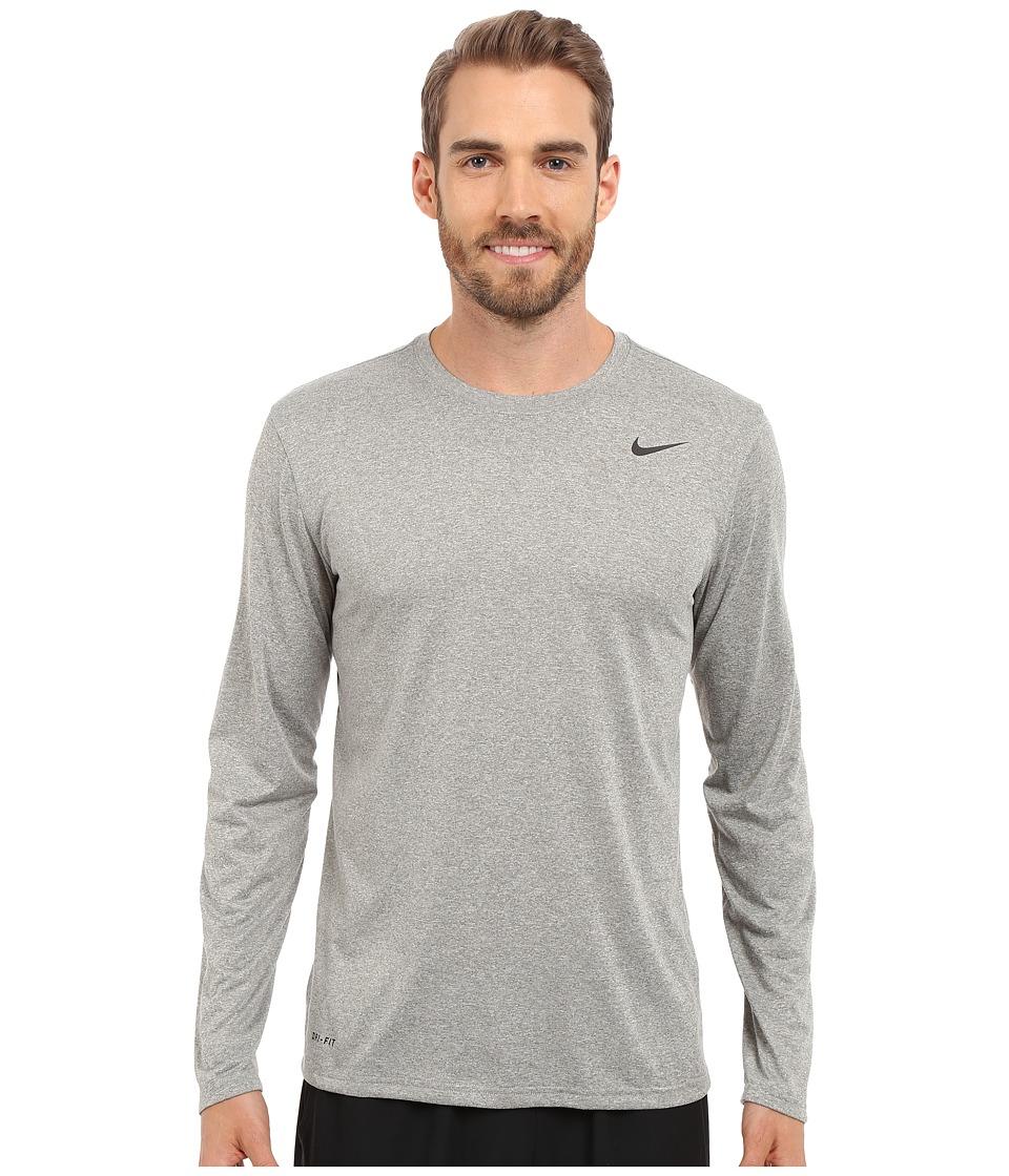 Nike - Legend 2.0 Long Sleeve Tee (Dark Grey Heather/Black/Black) Men
