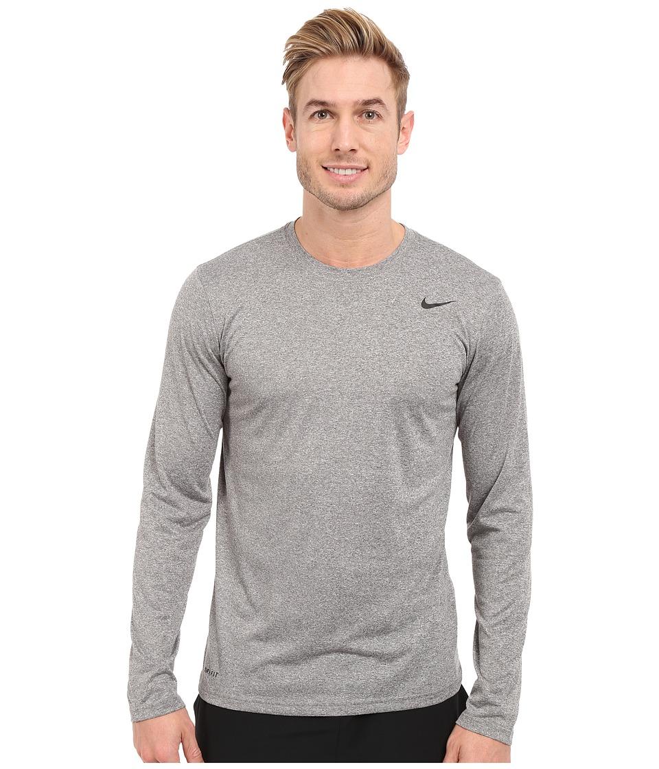 Nike - Legend 2.0 Long Sleeve Tee (Carbon Heather/Black/Black) Men