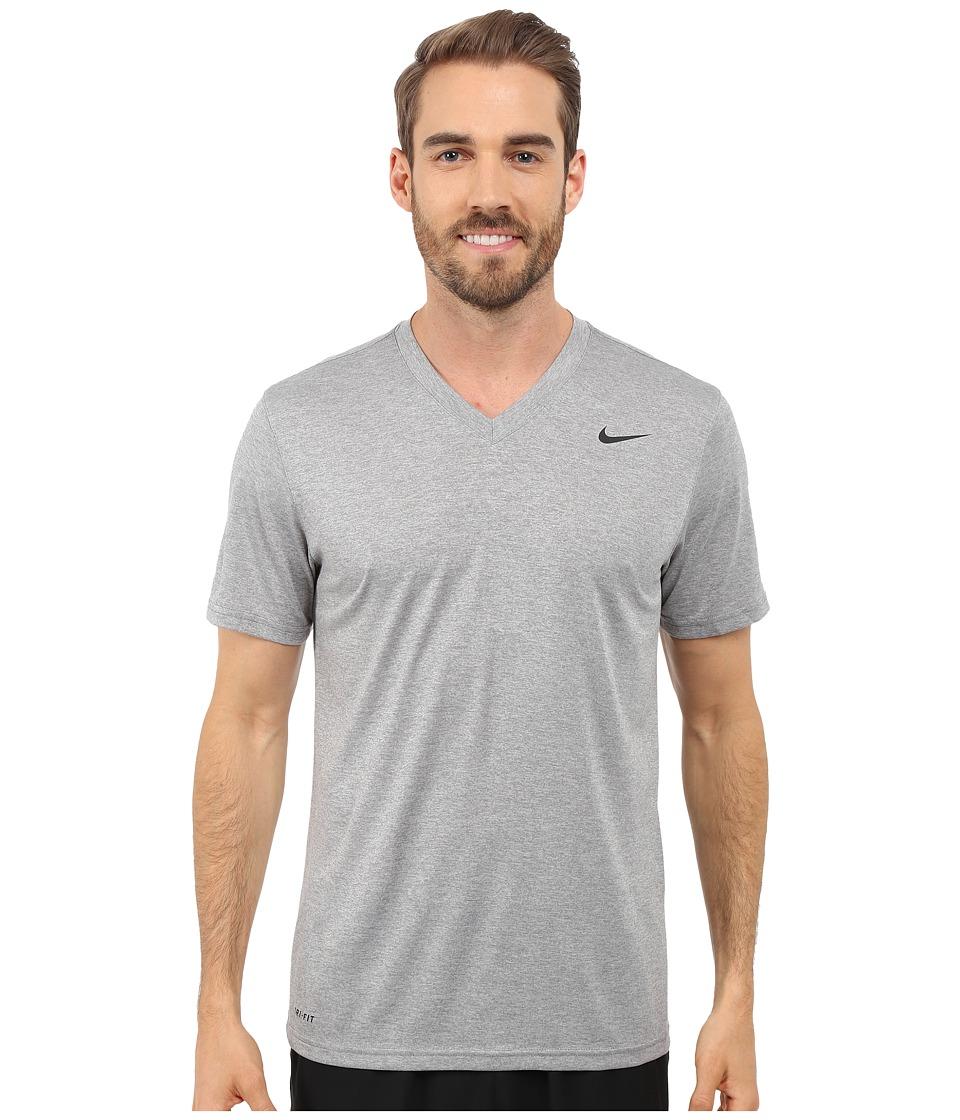 Nike Legend 2.0 Short Sleeve V-Neck Tee (Dark Grey Heather/Black/Black) Men