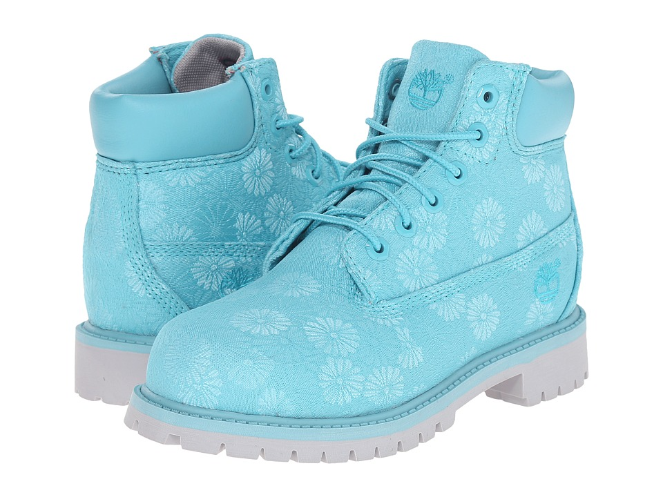 Timberland Kids 6 in Premium Waterproof Fabric Boot Little Kid Maui Blue Floral Jacquard Girls Shoes