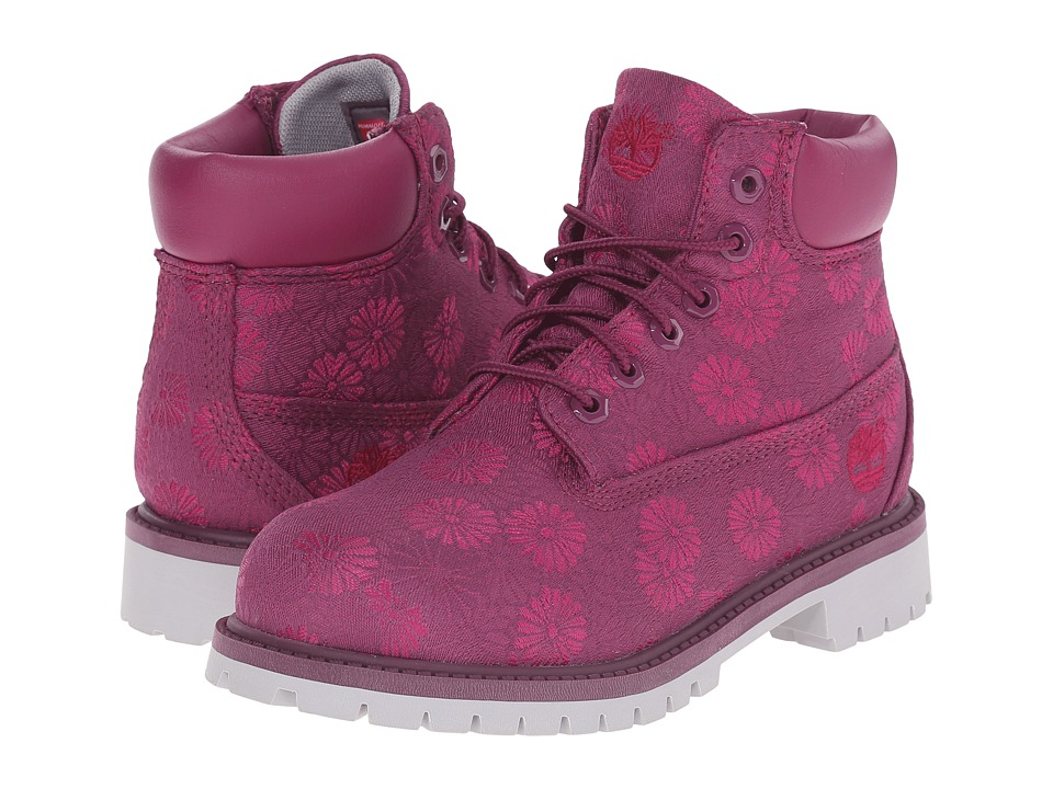 Timberland Kids 6 in Premium Waterproof Fabric Boot Little Kid Magenta Purple Floral Jacquard Girls Shoes