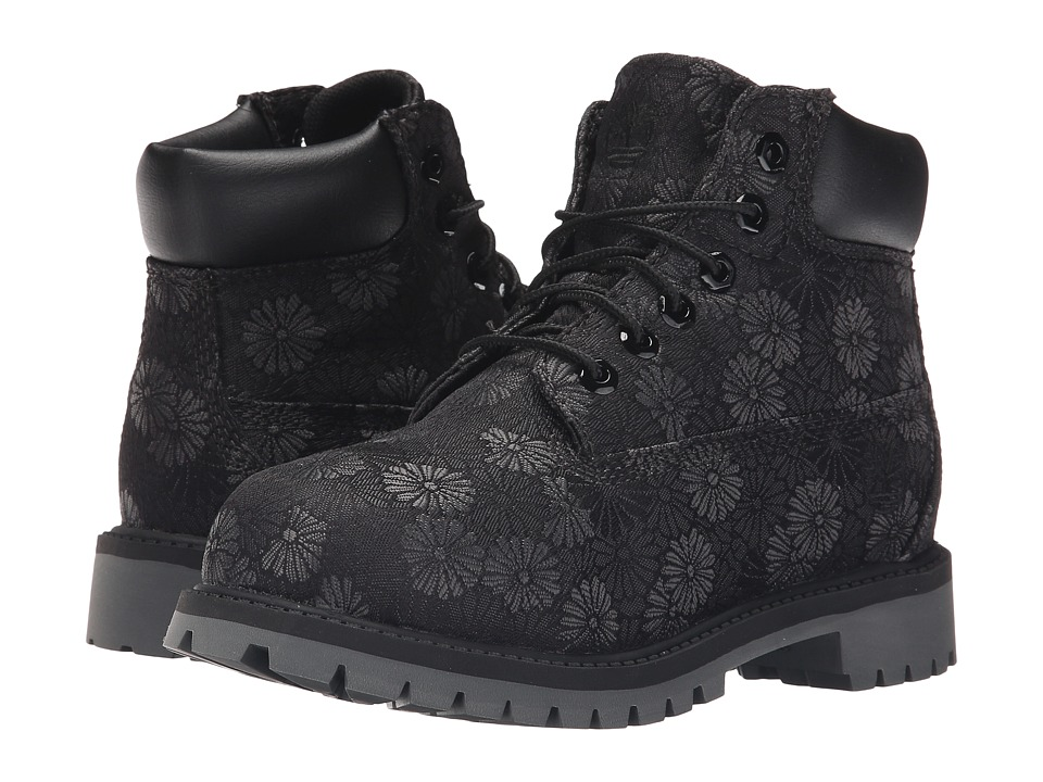 Timberland Kids 6 in Premium Waterproof Fabric Boot Little Kid Black Floral Jacquard Girls Shoes