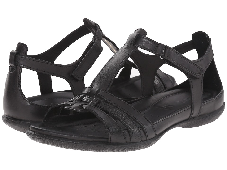 Ecco Flash T-Strap Sandal (Black/Black) Women's Sandals