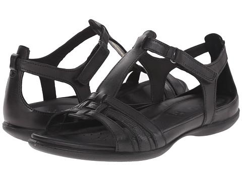 ECCO Flash T-Strap Sandal - Black/Black