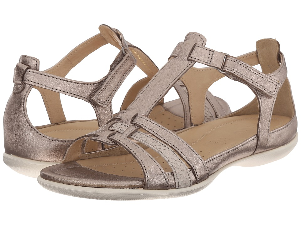 Ecco Flash T-Strap Sandal (Warm Grey Metallic/Moon Rock) ...