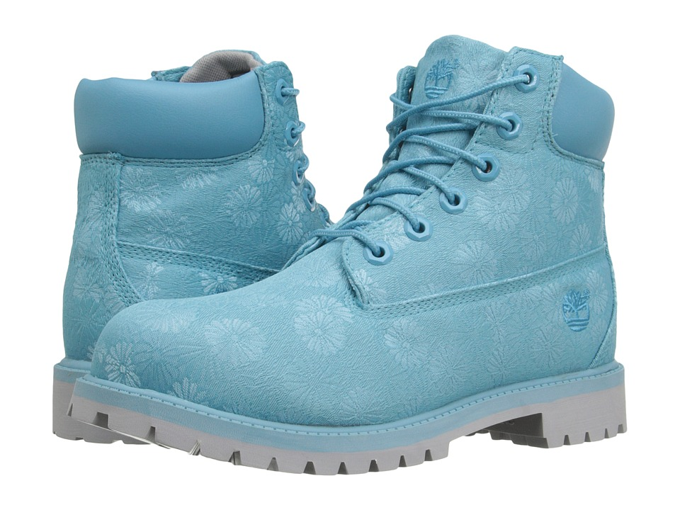 Timberland Kids 6 in Premium Waterproof Fabric Boot Big Kid Maui Blue Floral Jacquard Girls Shoes
