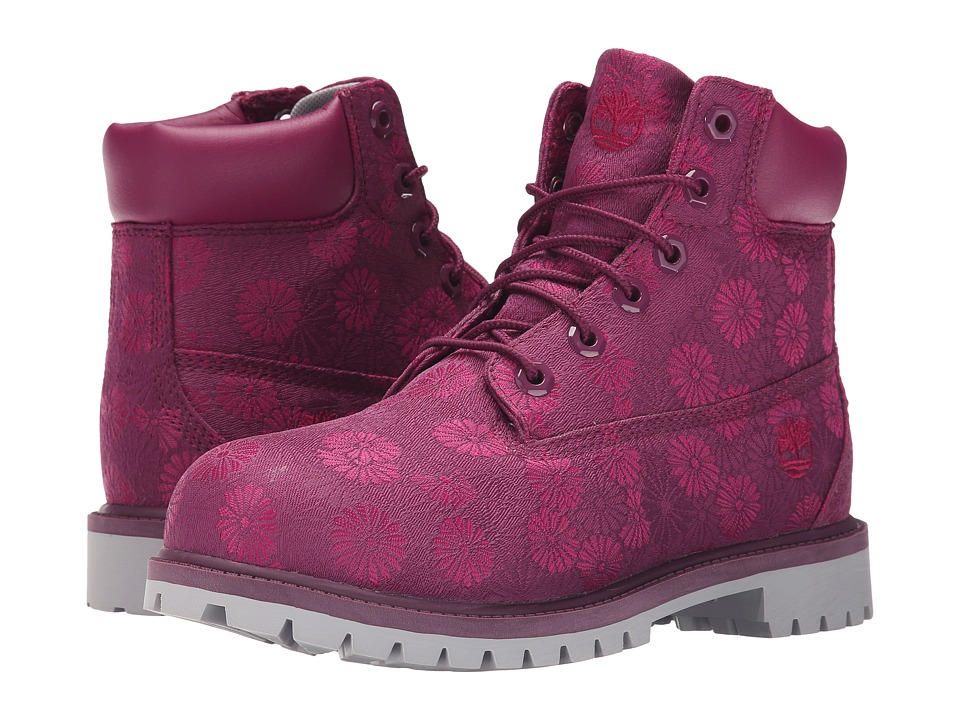 Timberland Kids 6 in Premium Waterproof Fabric Boot Big Kid Magenta Purple Floral Jacquard Girls Shoes