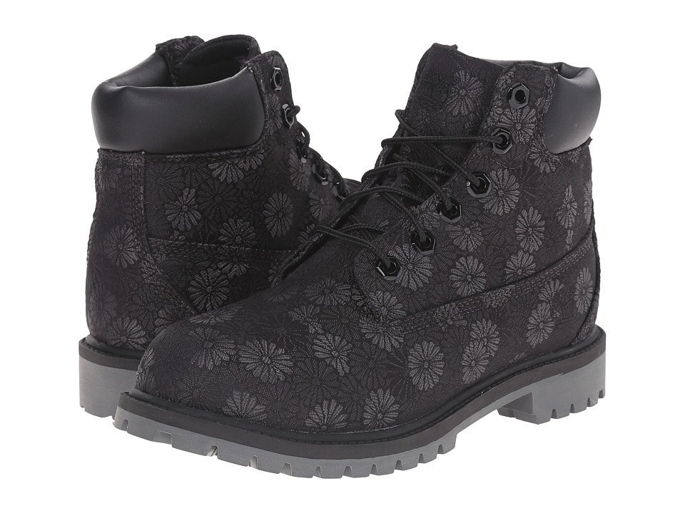 Timberland Kids 6 in Premium Waterproof Fabric Boot Big Kid Black Floral Jacquard Girls Shoes