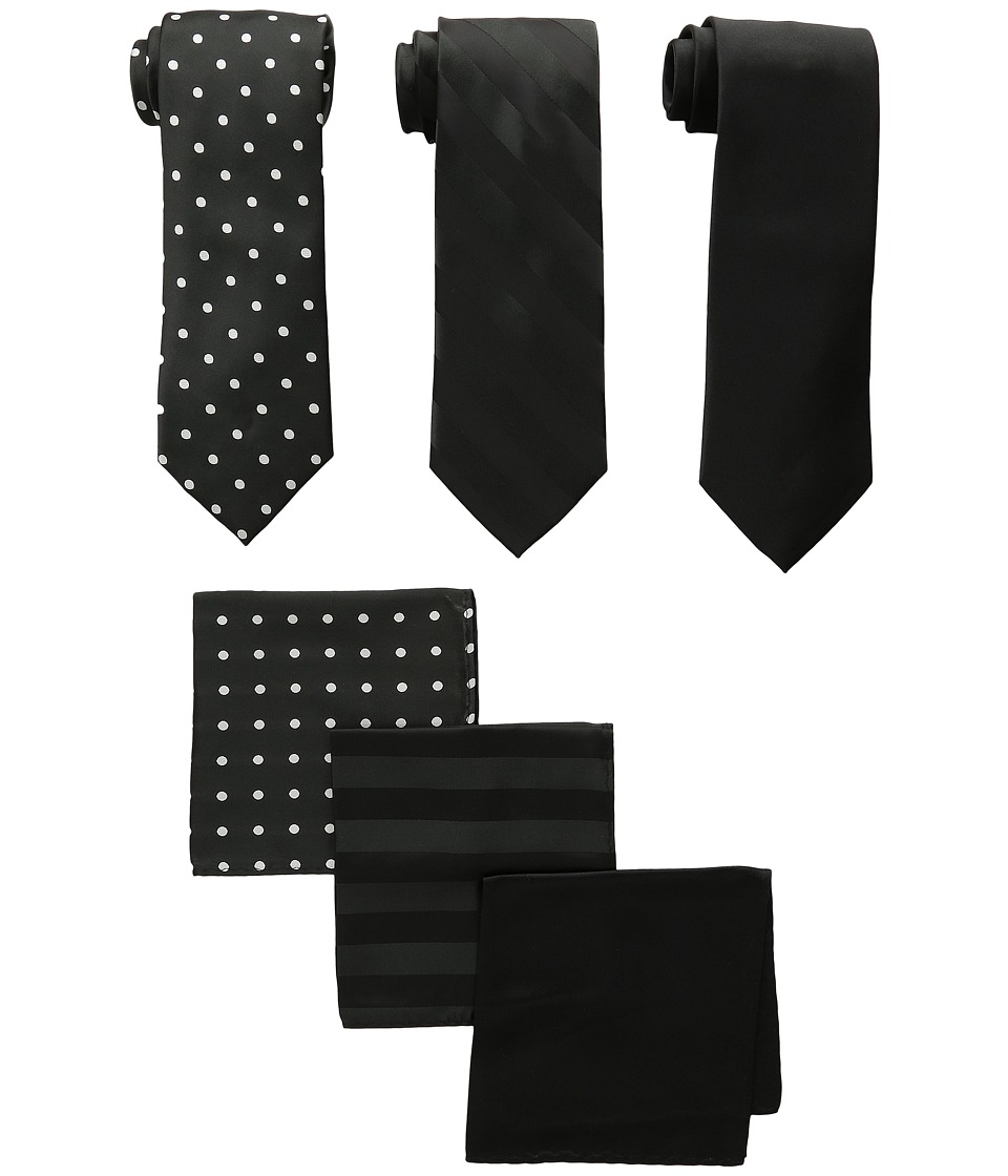 Stacy Adams - 3-Pack Tie Assortment with Pocket Squares
