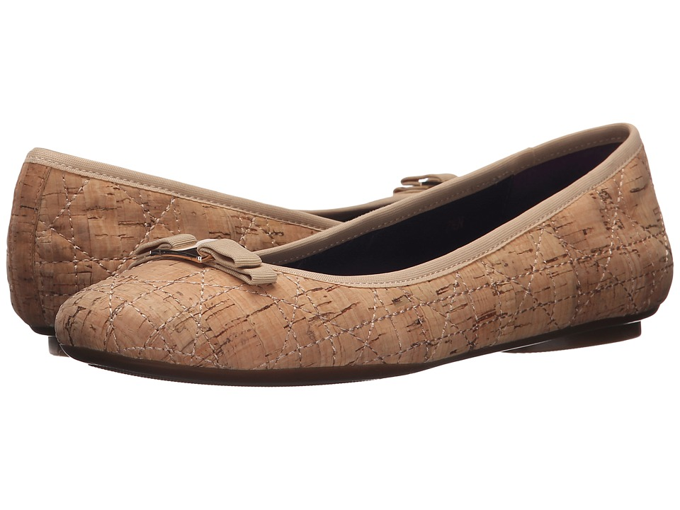 Vaneli Baffle Natural Quilted Cork/Match Gross Grain Womens Slip on Shoes