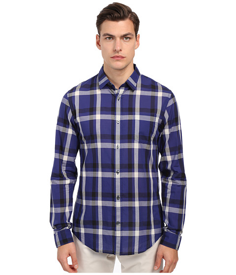 Vince Long Sleeve Graphic Plaid Button Up