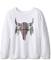 The Original Retro Brand Kids - Aztec Cow Skull Lightweight Fleece Tee (Little Kids/Big Kids)