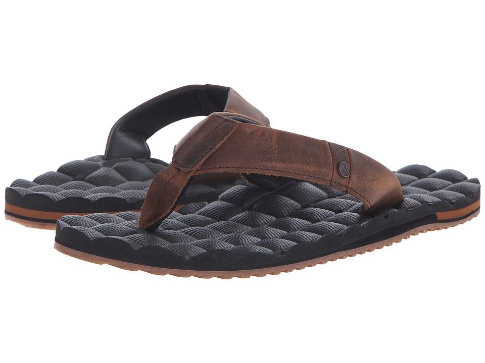 Volcom - Recliner Leather (Vintage Brown) Mens Sandals