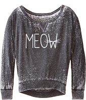 The Original Retro Brand Kids - Meow Burnout Long Sleeve Tee (Little Kids/Big Kids)