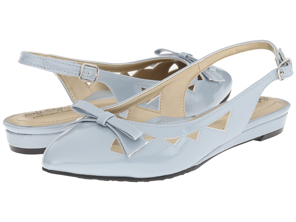 Soft Style - Deni Blue Fog Pearlized Patent Womens Wedge Shoes $49.00 AT vintagedancer.com
