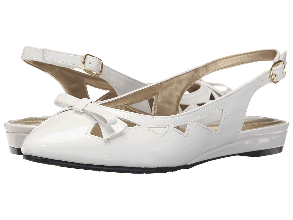 Soft Style - Deni White Patent Womens Wedge Shoes $49.00 AT vintagedancer.com