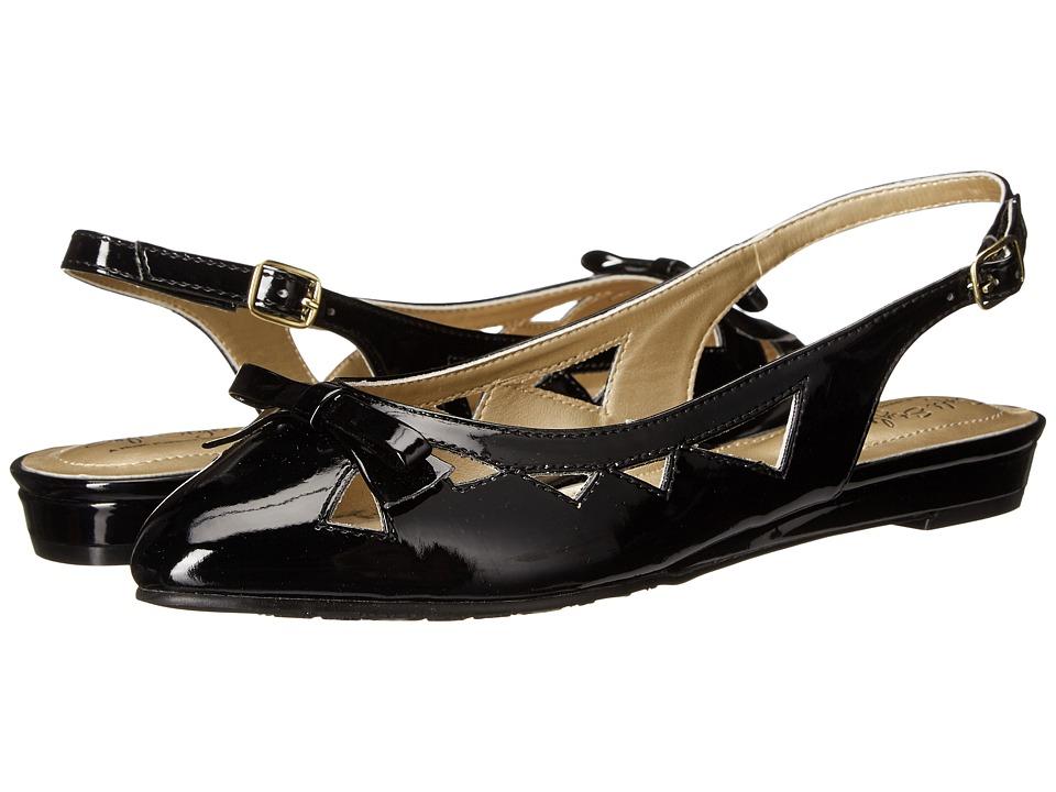 Soft Style - Deni Black Patent Womens Wedge Shoes $40.00 AT vintagedancer.com