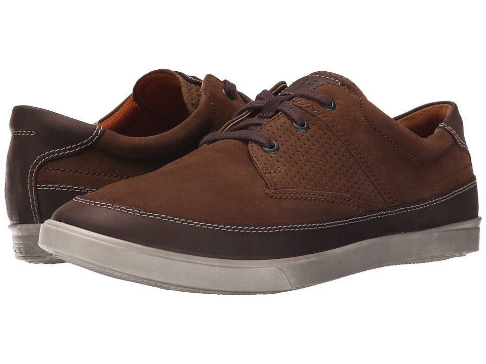 ECCO Collin Nautical Perf Coffee/Camel Mens Shoes