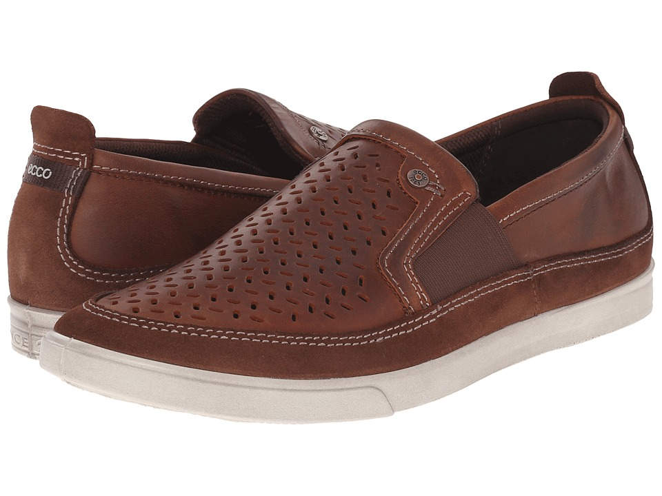 ECCO Collin Perf Slip On Bison/Cognac Mens Shoes