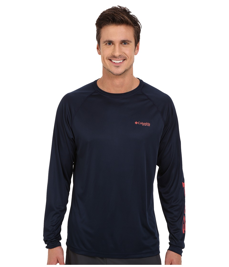 Columbia Terminal Tackle L/S Shirt (Collegiate Navy/Sunset Red Logo) Men