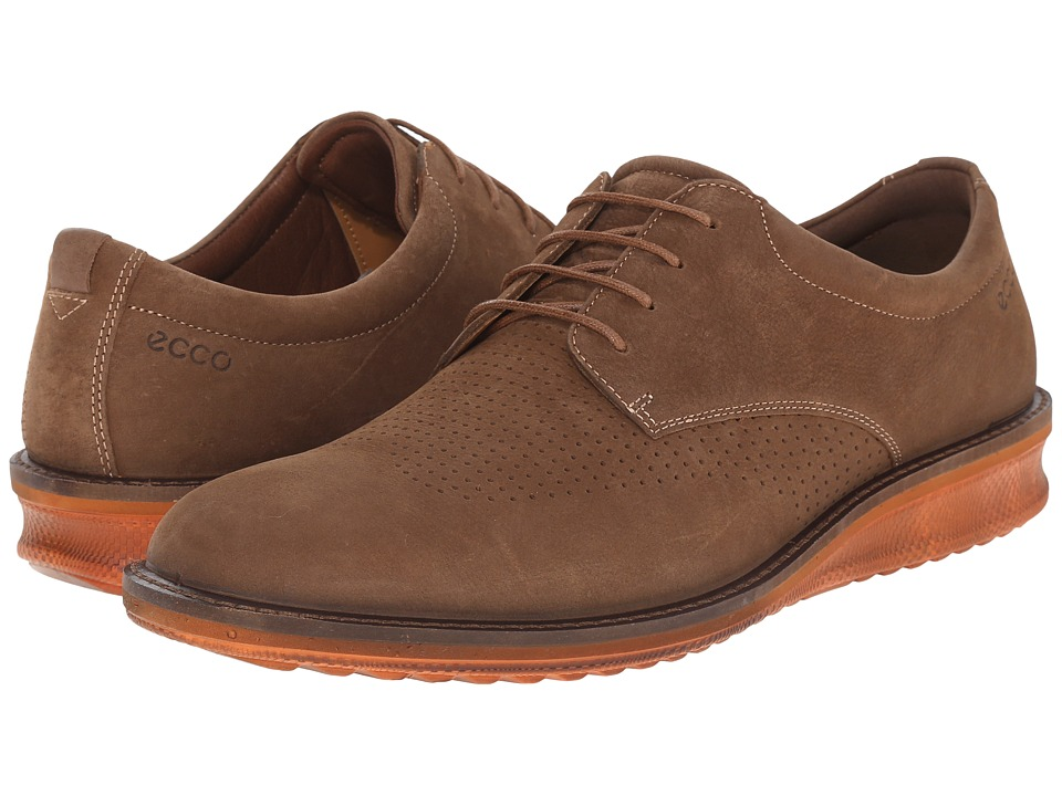 ECCO Contoured Brogue Camel/Cocoa Brown Mens Shoes