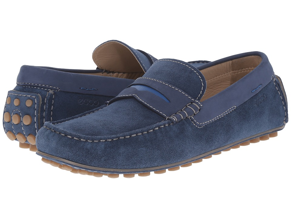 ECCO Dynamic Moc Denim Blue/Denim Blue/Bermuda Blue Mens Slip on Shoes