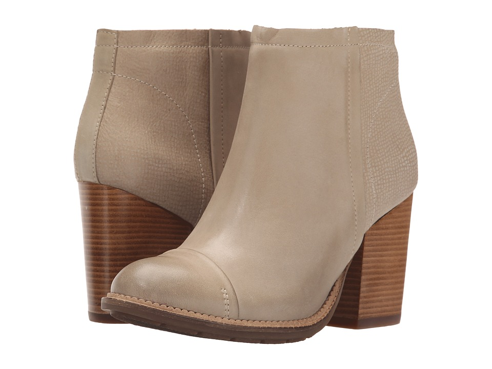 Hush Puppies Axelle Dewey Light Taupe Leather Womens Zip Boots