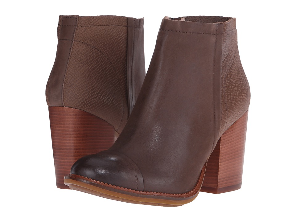 Hush Puppies Axelle Dewey Taupe Leather Womens Zip Boots