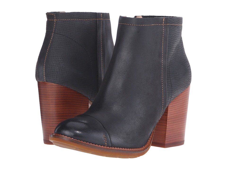 Hush Puppies Axelle Dewey Black Leather Womens Zip Boots