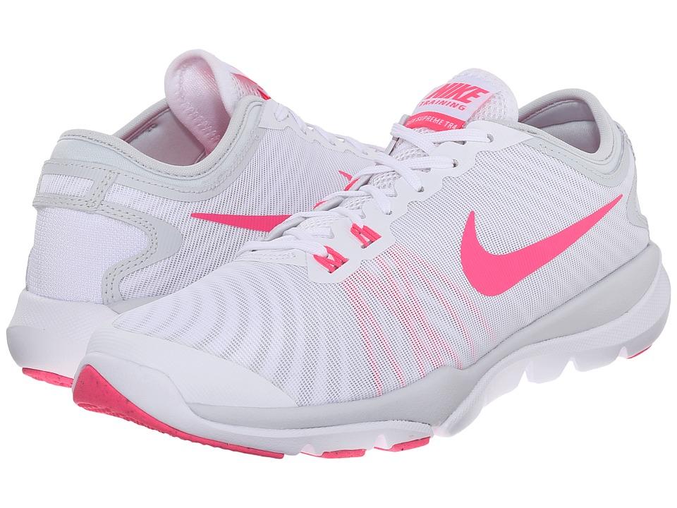 Nike Flex Supreme TR4 (White/Pure Platinum/Wolf Grey/Hyper Pink) Women