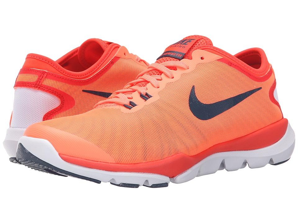 Nike - Flex Supreme TR4 (Bright Mango/Bright Crimson/White/Squadron Blue) Womens Cross Training Shoes