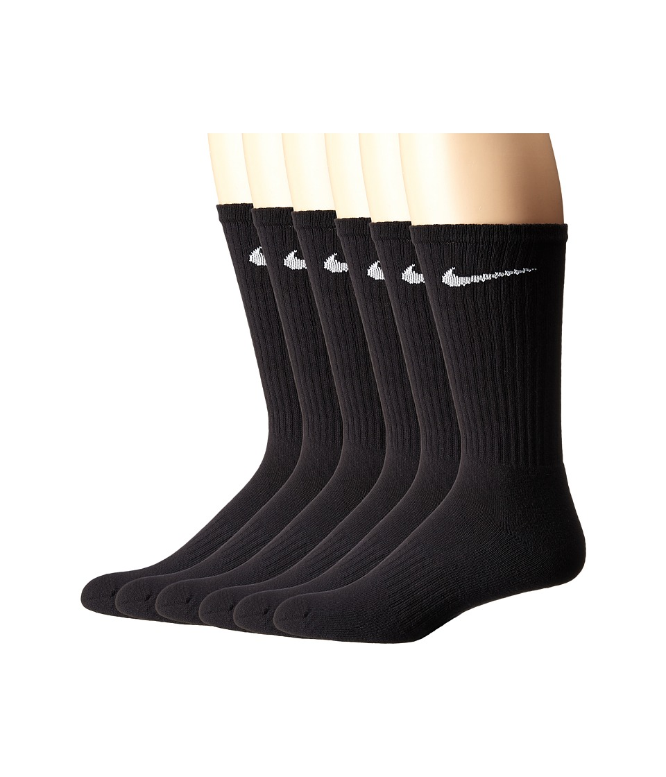 Nike Band Cotton Crew 6-Pair Pack (Black/White) Crew Cut Socks Shoes