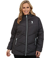 U.S. POLO ASSN. - Plus Size Hooded Puffer Jacket with Contrast Zippers
