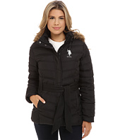 U.S. POLO ASSN. - Puffer Parka with Self Belt and Detachable Hood