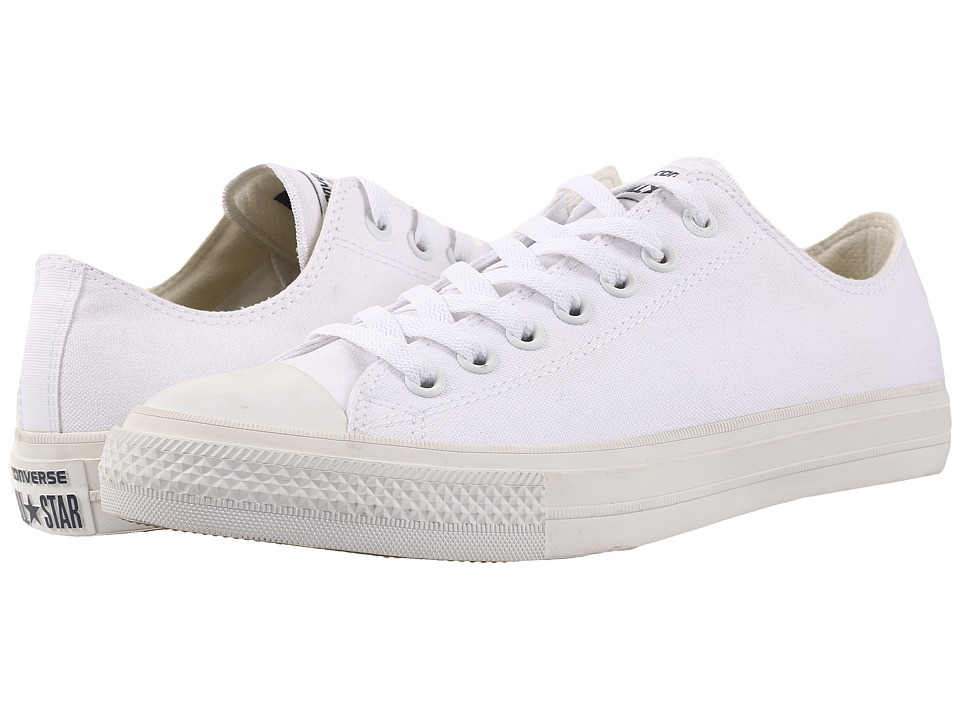 Converse Chuck Taylor All Star II Ox (White/White/Navy) Classic Shoes