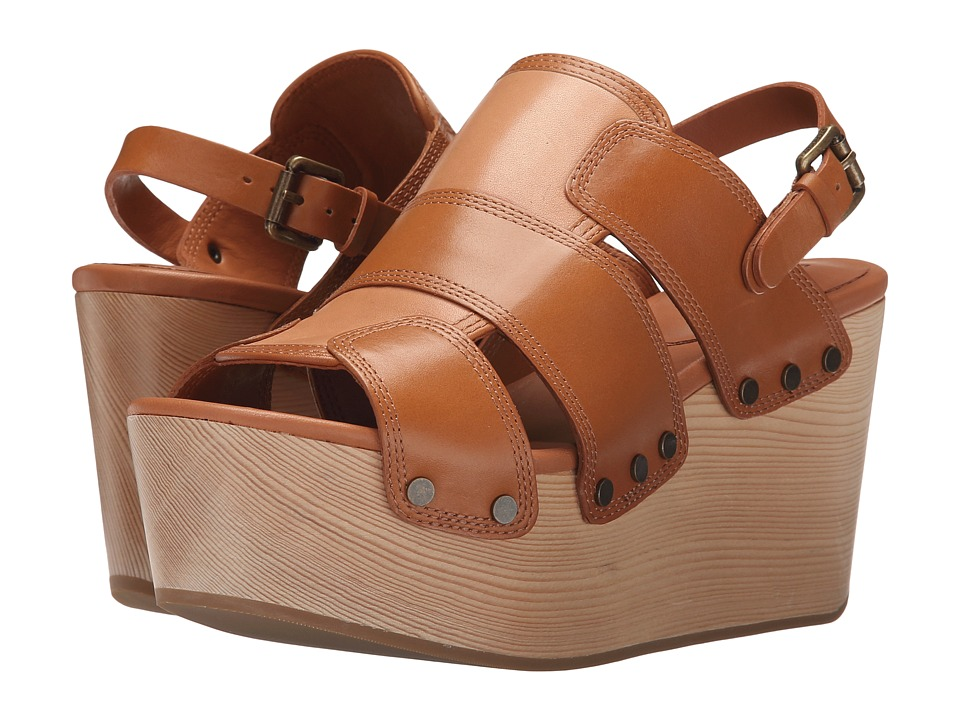 10 Crosby Derek Lam Heath Toffee Burnished Vacchetta Womens Sandals