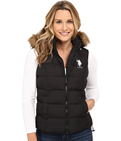 U.S. POLO ASSN. - Basic Puffer Vest with Faux Fur Trimmed Hood