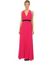 JILL JILL STUART - Sleeveless Deep V Belted Crepe Gown